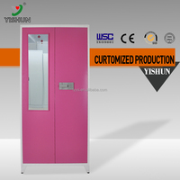 DIY easy to assemble Chinese 2 door metal clothes cabinet designs for bedroom