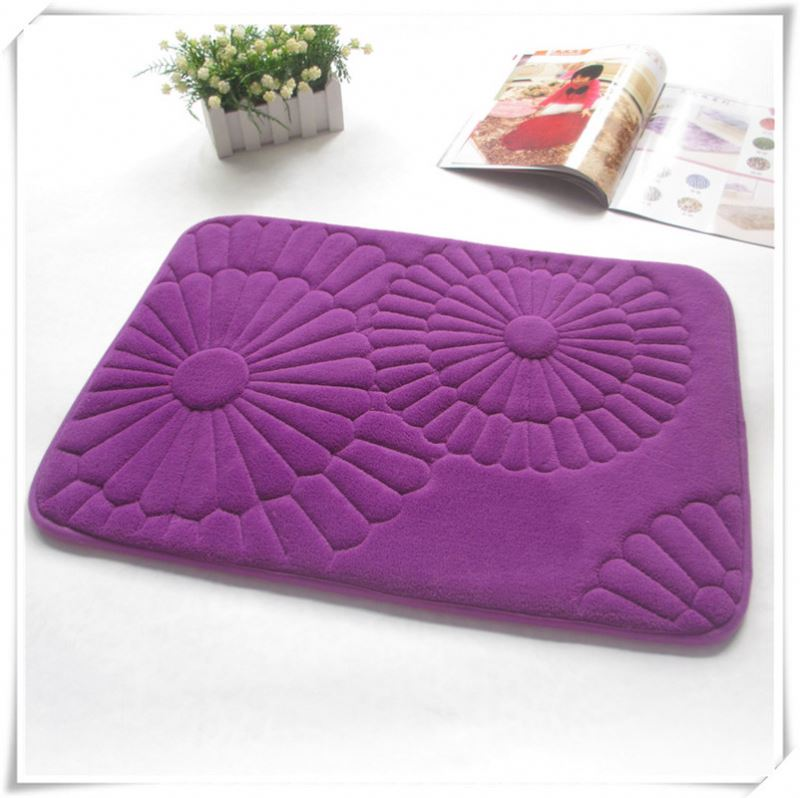memory foam coral fleece water absorbent dog crate mats/Memory foam bath mat_ Qinyi