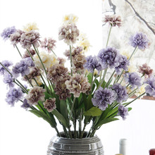 European Style 5 Fork Artificial Carnation Flowers Tall Artificial Decoration Flowers for Home Office