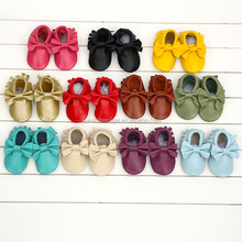 Hot Sale Factory Bowknot Tassel Moccasins Leather Baby Prewalker Shoes