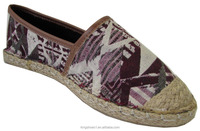 Fashion ethnic women' flat espadrille shoes stitching jute sole lady slip on casual shoes
