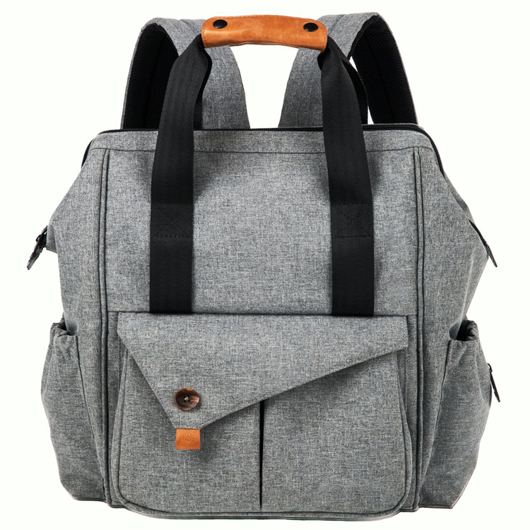Grey Diaper Mummy Bag Backpack With Insulated Pockets