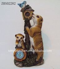 meerkat with Bird House solar lights
