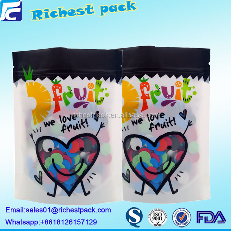 Chinese manufacture printed zip lock plastic stand up pouch cute candy bags