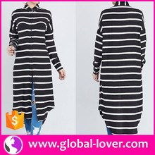 Newest stripe long sleeve polo neck muslim women dress pictures