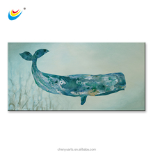Sea Whale Painting 100% Handpainted Animal Wall Art Canvas Framed Home Decor