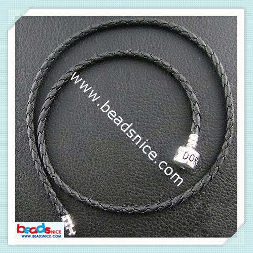Beadsnice ID 3046 Jewelry Making Bracelet Cord real leather with Sterling Sliver clasp silicone slap bracelet