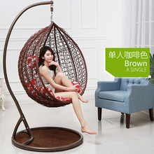 2018 Bedroom rattan wicker cane hanging egg swing chair with stand Cane Hang chair