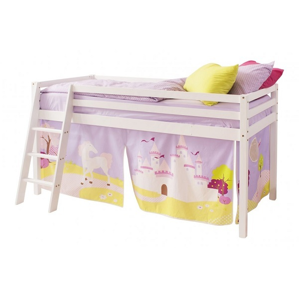 Girls single size white cabin bed mid-sleep bed with ladder and tent