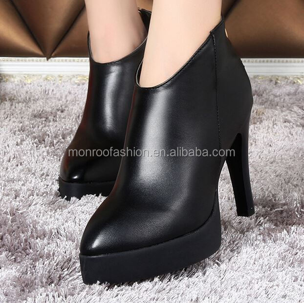 Monroo new style autumn winter women short ankle boots black PU leather high heel boots shoes