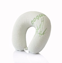 New arrival high quality bamboo travel neck pillow memory foam private logo customized memory foam travel neck pillow