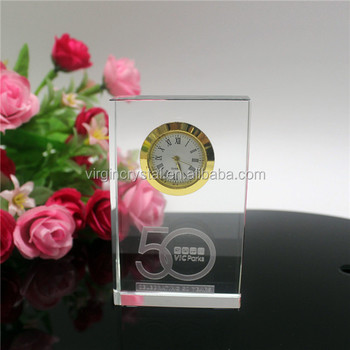 Customized 3D laser engraving quartz crystal desk clock business anniversary gift