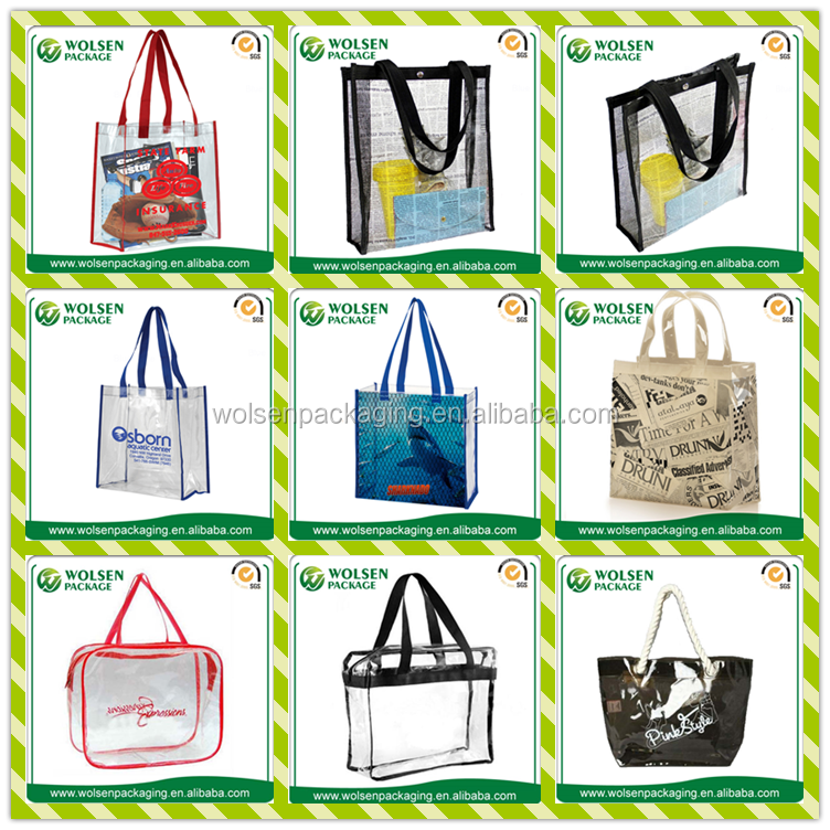 China Clear Pvc Bag Plastic Clear Pvc Zipper Tote Bags Pvc
