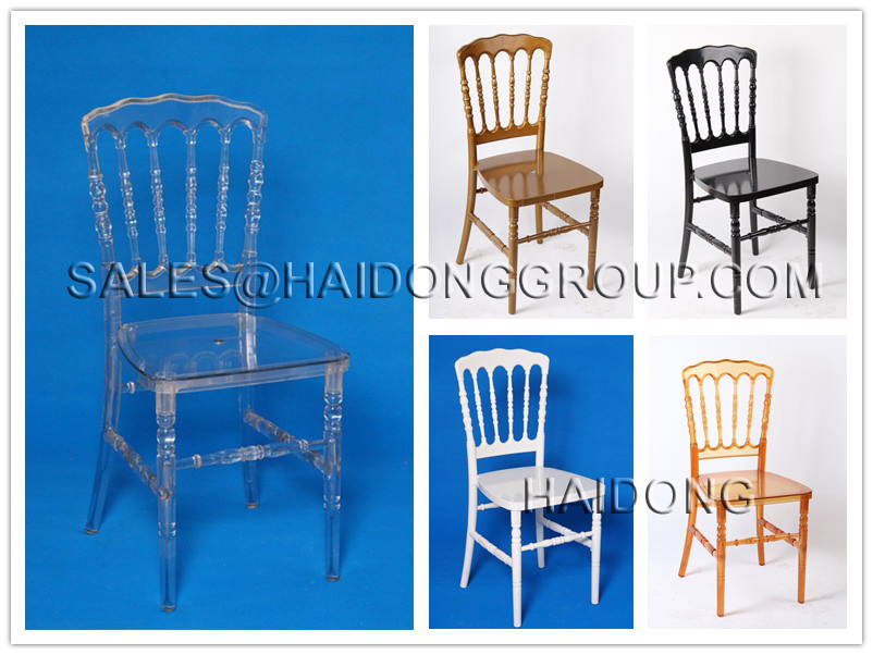 Gold Color PC Hotel Resin Napoleon Wedding Chairs for Sale