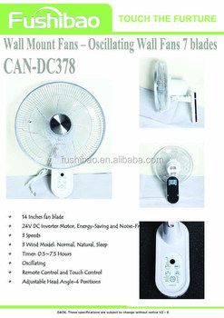 "14"" 3 Speed Energy Efficient Oscillating Wall Mount Fan"