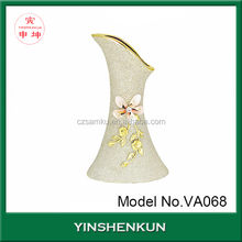 Gold glazed ceramic tall arabic flower vases gold painted plated