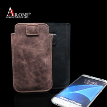 Vintage pull out genuine small leather pouch for samsung s7