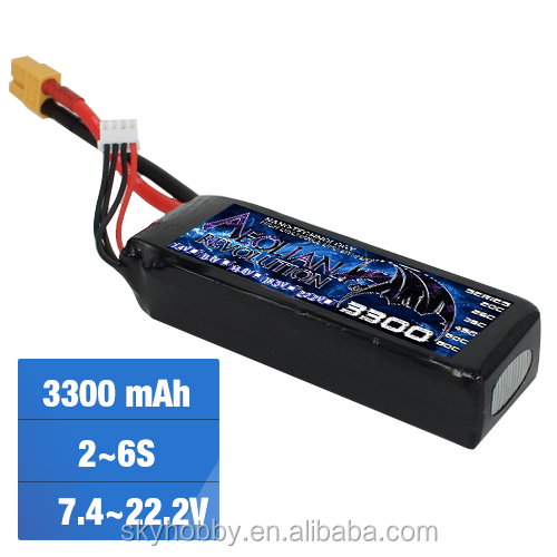 Promotion rechargeble RC Lipo battery 7.4V~22.2v 3300mah 65C For RC helicopter airplane quacopter from China Factory