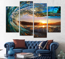 4 Panels framed Sea wave Scenery Wall Art <strong>Pictures</strong> Print On Canvas Painting For Home Kitchen Decoration