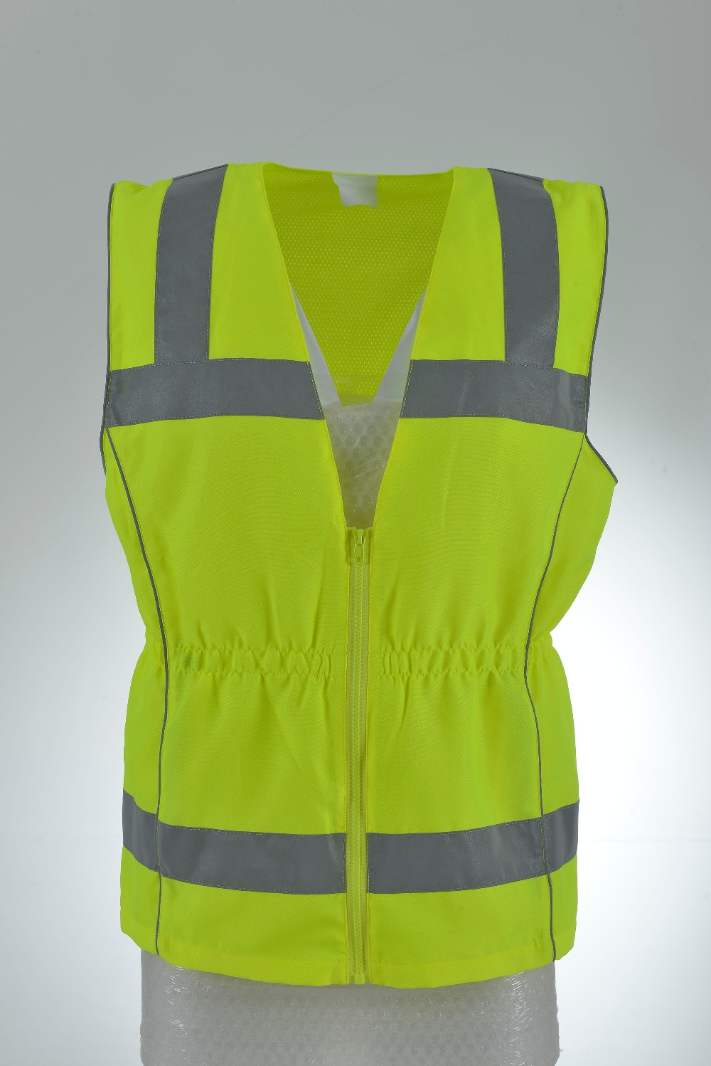 Women 100% polyester traffic reflective safety vest with collect waist