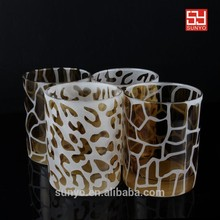 Customized Lead-free Crystal Leopard Printed Drinking Water Glass