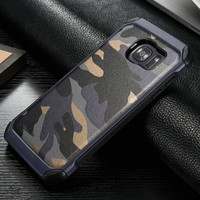 Army Camo Camouflage Leather Case For Galaxy S7 S7 Edge 2 in 1 Hard Plastic and TPU Cover Shell