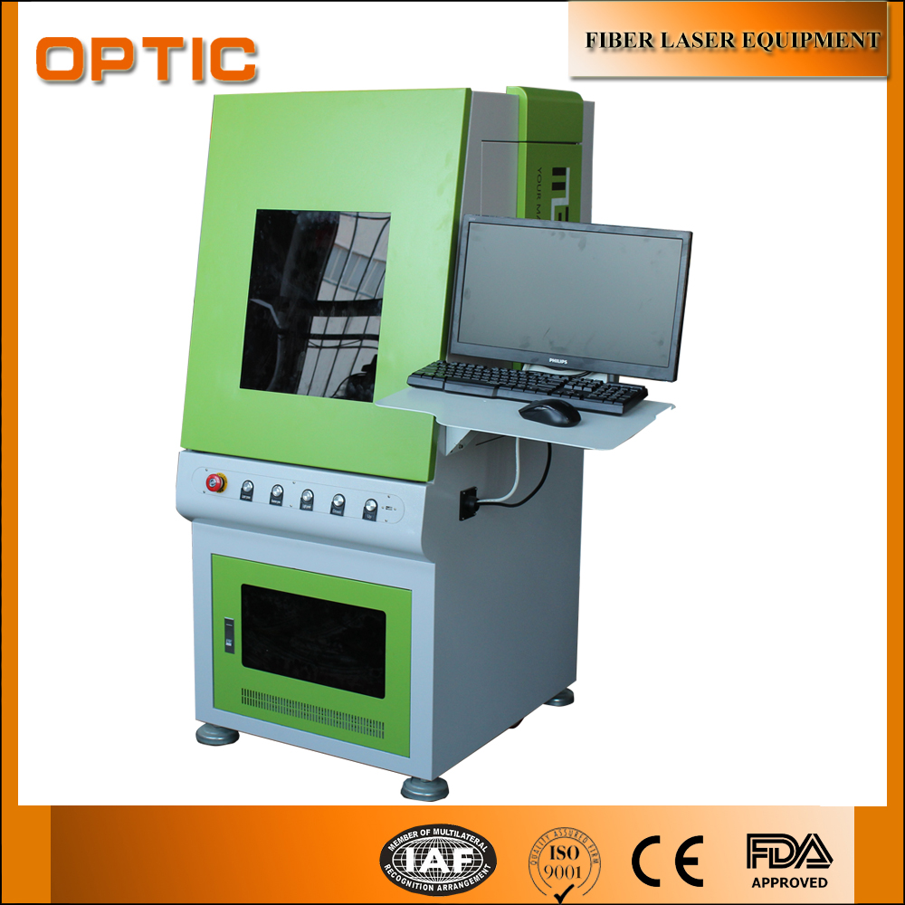 Green Color Enclosed Prective Cover 20w fiber laser marking machine
