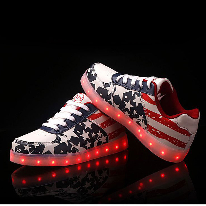 Popular Casual Shoes Flag Printed Boys PU Lace-Up LED Light Up Shoes for Adult
