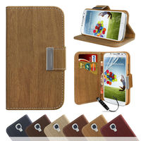2014 New Wooden Stylish Luxury Leather Wallet Flip Stand Case Cover For SAMSUNG GALAXY S5 i9600--Laudtec