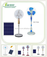 12V DC Stand Fan Rechargeable Solar Fans with 3 Speeds and LED