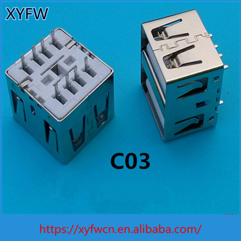 Electronic customized double port 8 pin Female Usb Connector