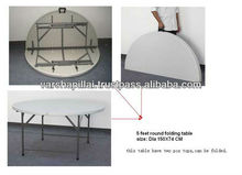 Round Plastic Table with folding legs and folding Tops