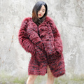 CX-G-A-180A New Design Hand Made Real Raccoon Fur Winter Coat