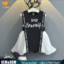 Summer frock designs picture western style striped dress kids wholesale sleevwless dresses