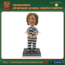 Hot selling 8 inch tall polyresin resin Hillary Clinton bobblehead