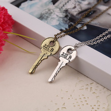 he key to 221b Sherlock necklace vintage Apartment 221b key antique <strong>silver</strong> and bronze pendant