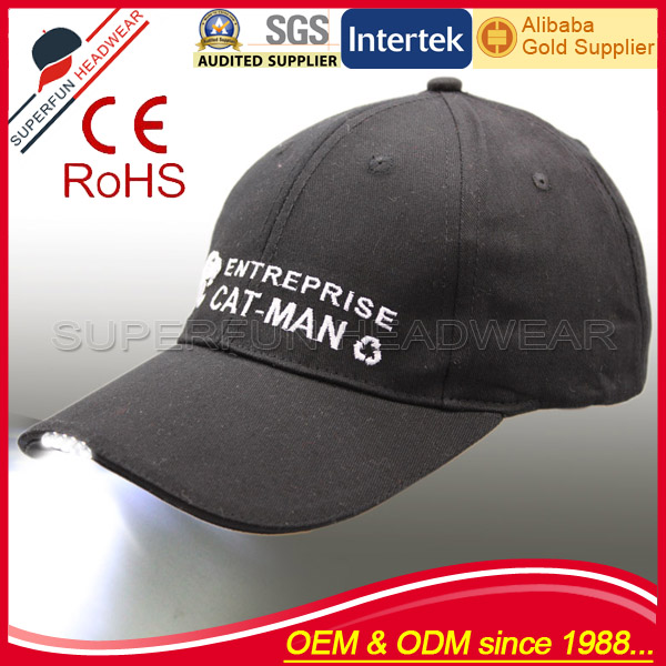 wholesale led light all kinds of cap and hat with custom embroidery logo