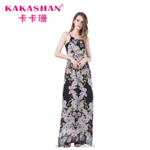 Fashion Design Summer Women Sleeveless Chiffon Maxi Boho Vestido Dress