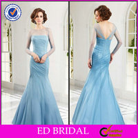 EDM012 Newest Mermaid Tulle Beaded Long Sleeve Light Blue Mother of the Bride Dresses