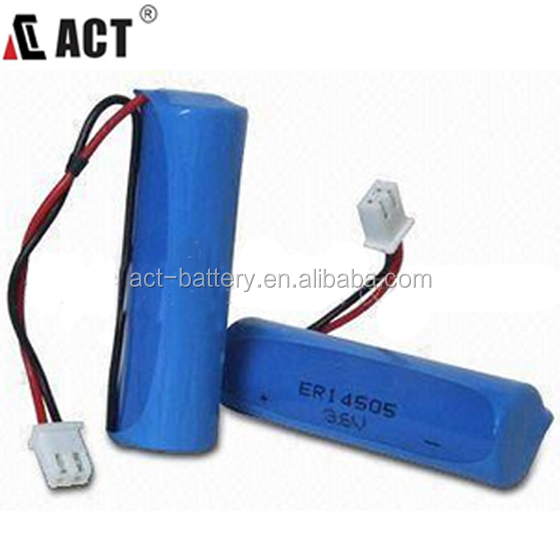 3.6V lisocl2 lithium battery AA ER14505 battery with JST XH-2/5264/PHR-2 connector