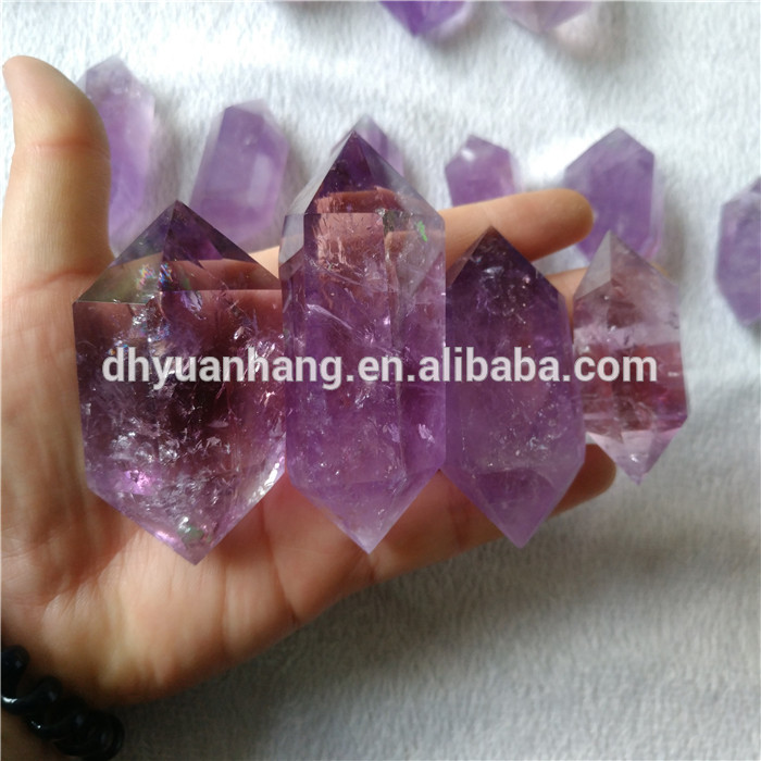 Deep color natural amethyst quartz crystal points six sides crystal healing wands for sale