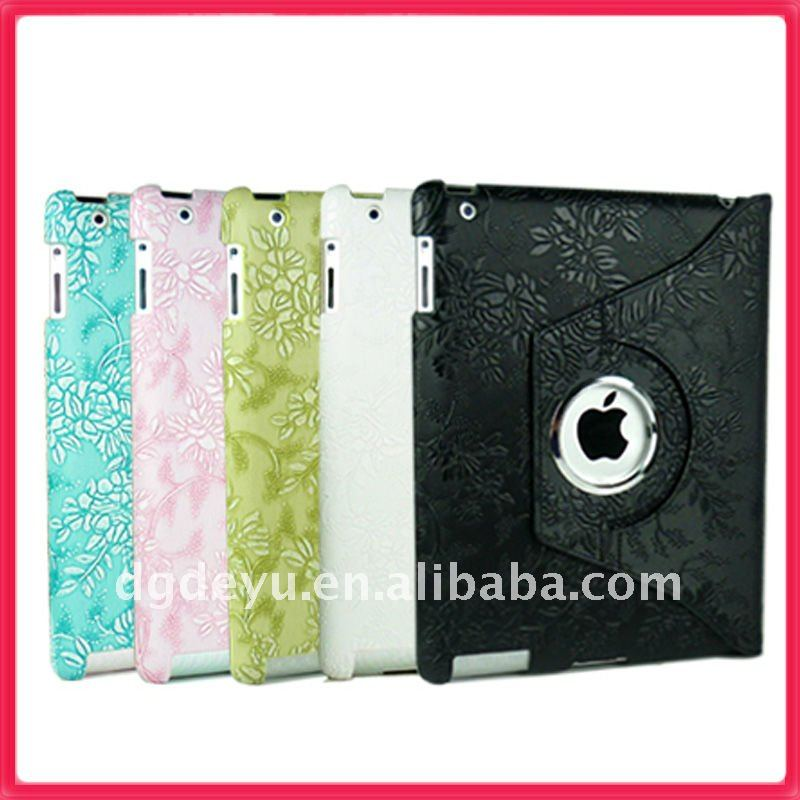 For iPad 2 360 degree Stylish Rotating Magnetic Leather Case Smart Cover With Swivel Stand