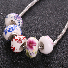 blue red flower diy ceramics bead landing wholesale