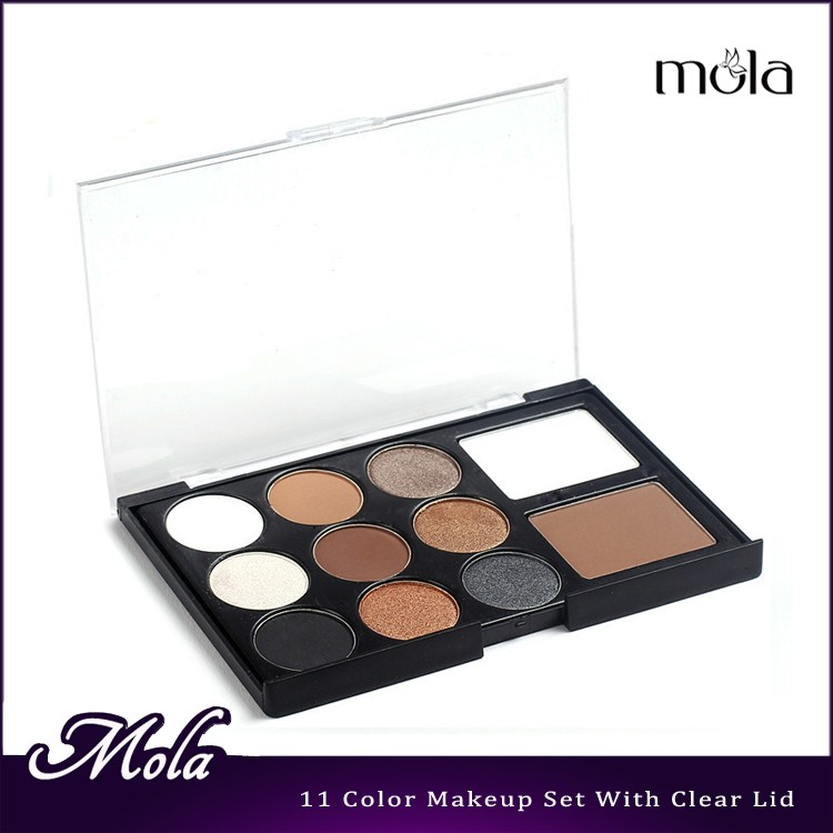 OEM high quality 11 color multi-color eyeshadow makeup set with contour blush clear lid palette