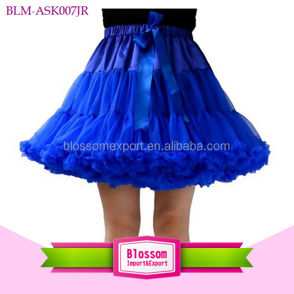 Extra fluffy royal blue fashion soft nylon chiffon toddler and adult pettiskirt plus size
