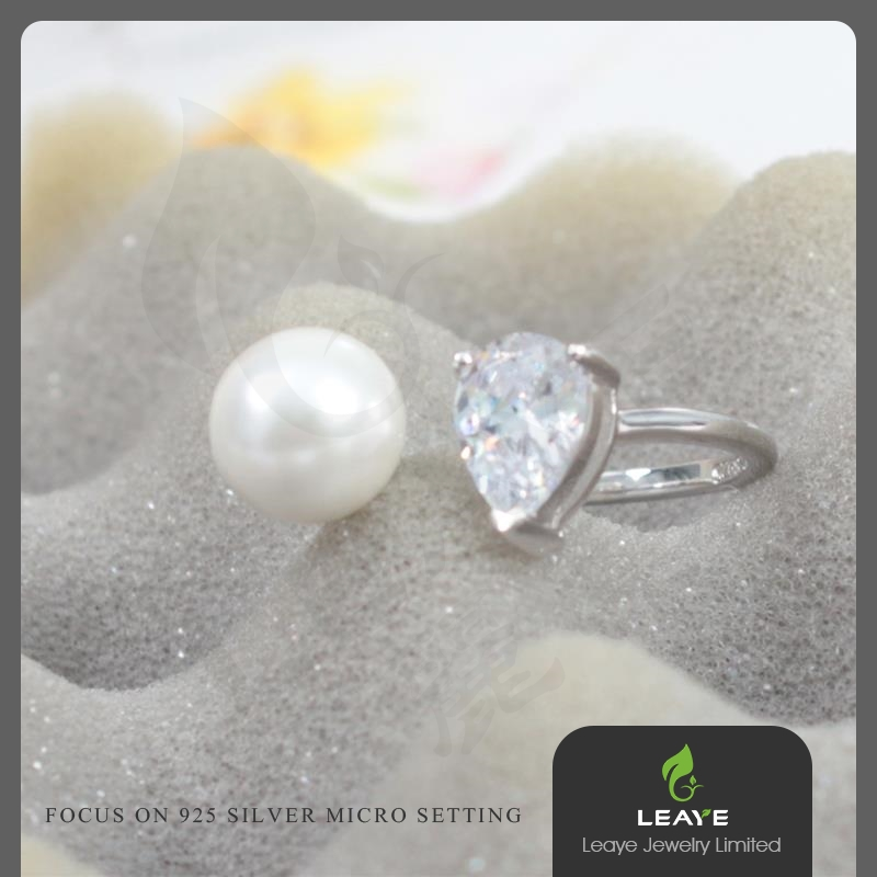 Professional Jewelry Women Pearl 3a cz Stone 925 Sterling Silver Ring