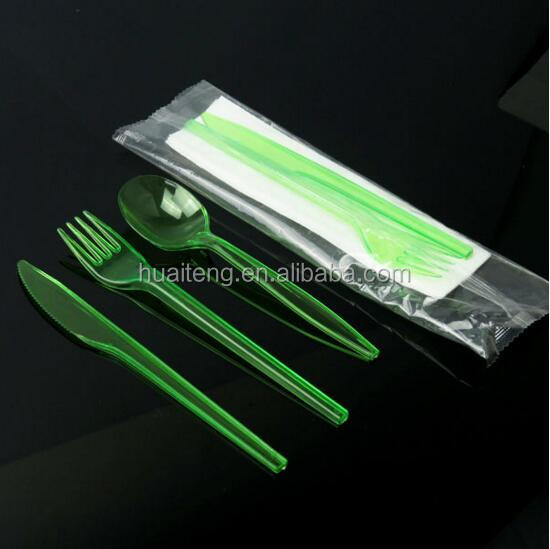 Disposable plastic cutlery colored fork knife tea spoon/paper napkin