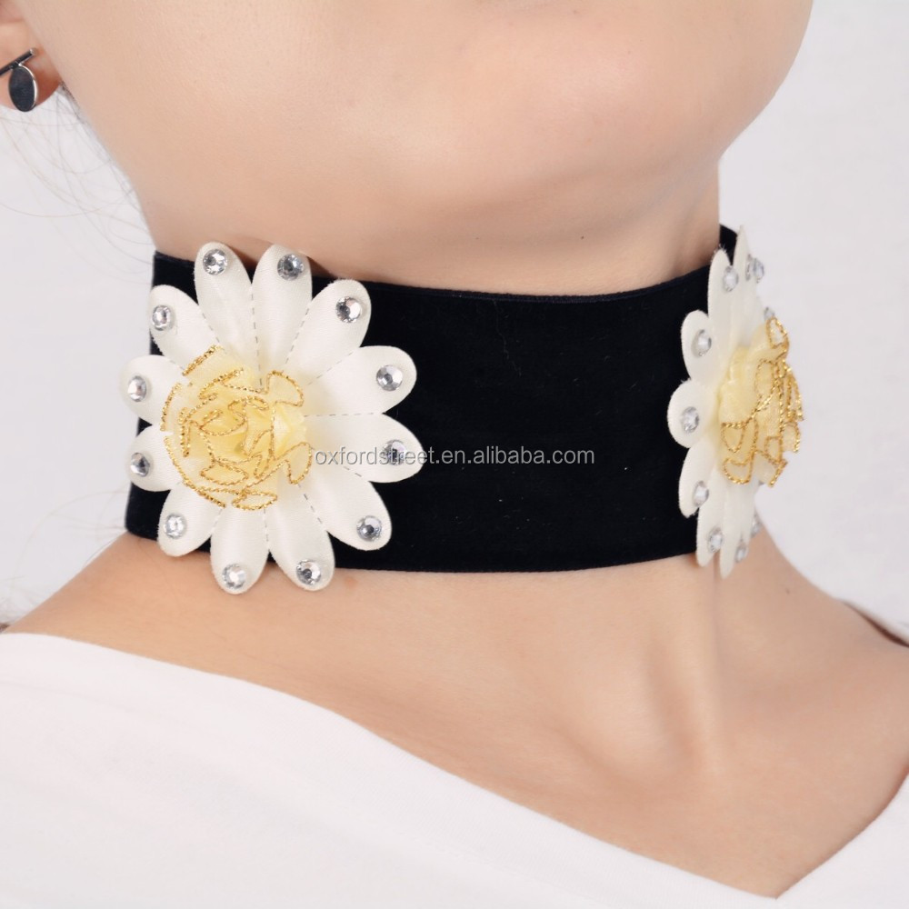 Spring Fashion jewelry velvet Choker necklace with big flower