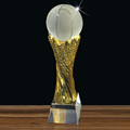 crystal football award with metal cheap glass football award