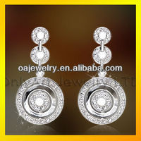 Charming Fair Maiden Temperament Fashionable Cz brass Sterling Silver Dangle Earring